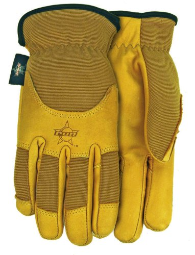 Professional Bull Rider (PBR) Smooth Grain Cowhide Leather Work Gloves, Large, PB103
