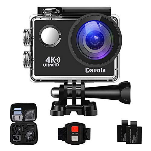 Action Camera Waterproof 4K Underwater Camera Video Sport Camera WiFi Davola 16MP Ultra HD with Remote Control 170° Wide Angle Lens 2 Rechargeable Batteries and Mounting Accessories Kit