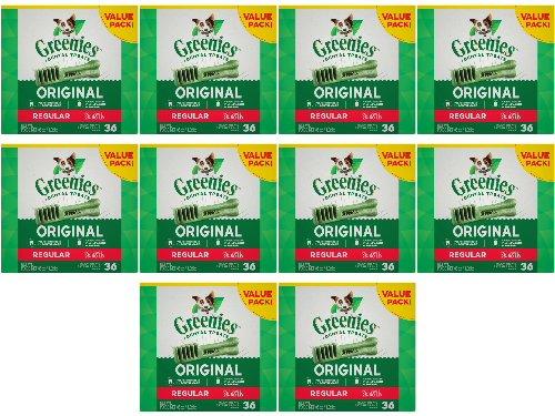 Greenies Dental Chews Value Size Regular 360oz(10 x 36oz Tubs) by Greenies