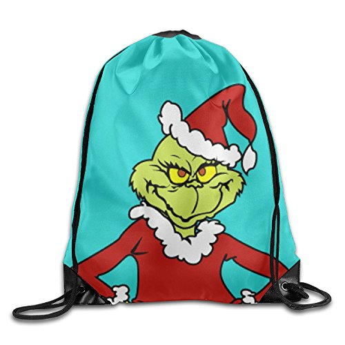 Christmas Grinch Mint Green Drawstring Bag Gym Backpack by WODERPOKIE