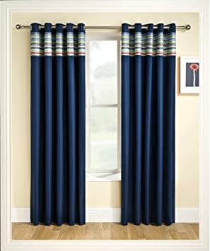 Blackout Curtains blackout curtains navy blue : Ready Made Eyelet Thermal Blackout Curtains with Co-ordinating ...