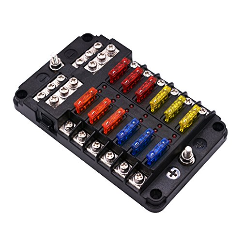 BlueFire Upgraded 12 Way Blade Fuse Box Fuse Box Holder Standard Circuit Fuse Holder Box Block with LED Light Indication & Protection Cover for Car Boat Marine Trike Car Truck Vehicle SUV Yacht RV