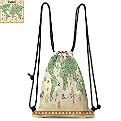 Wanderlust Decor Portable drawstring backpack Retro Syle Map of the World with Trees Volcanos and Mountains Ancient Boho Artprint For the gym W13.8 x L17.7 Inch Cream Green
