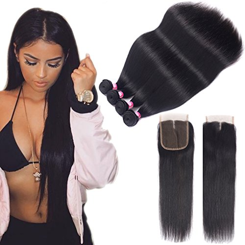 10A Brazilian Virgin Hair 4 Bundles With Closure (16 18 20 22+12 closure) 100% Unprocessed Straight Brazilian Human Hair Weave With Top Quality Lace Closure