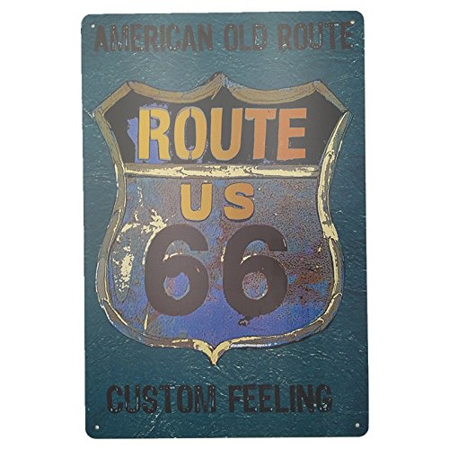 MARQUISE & LOREAN Ruta 66 Decoracion Pared Placa Decorativa Vintage Route Cartel Chapa MIRA … (Azul y Verde, 20 cm x 30 cm)