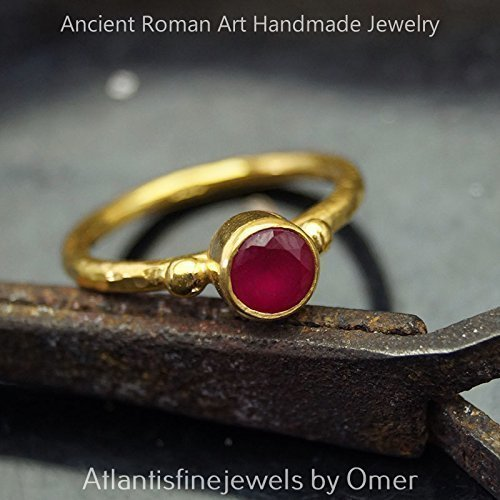 Handcrafted Red Topaz Stack Ring 925 k Silver 24k Gold Vermeil Turkish Jewelry