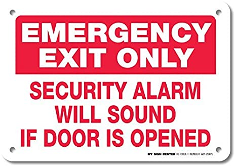 Amazon.com: Emergency Exit Only Security Alarm Will Sound If ...