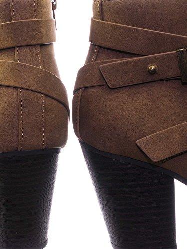 Dress Nubuck Soda Bootie Strap Brown Light Womens Buckle Stylish Alum Ankle wFqfAqXvg