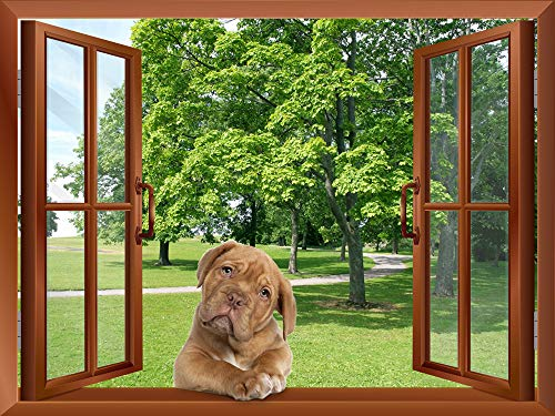 A Dog Lying on the Windowsill outside an Open Window Removable Wall Sticker Wall Mural