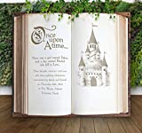 Wedding Castle Backdrop for Ceremony Decor or Photo Booth, Book Pages Personalized Hanging Canvas Sign Wedding Back Drop Fairytale