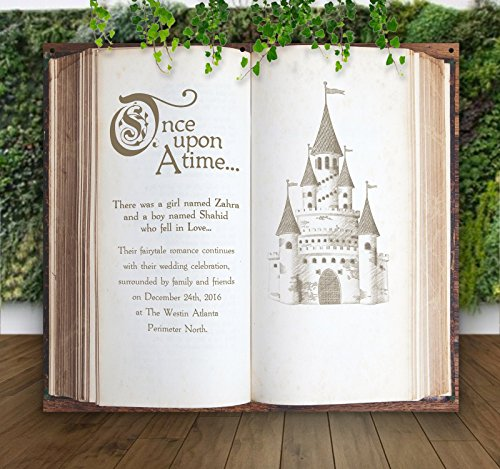 Wedding Castle Backdrop for Ceremony Decor or Photo Booth, Book Pages Personalized Hanging Canvas Sign Wedding Back Drop Fairytale by Z Create Design