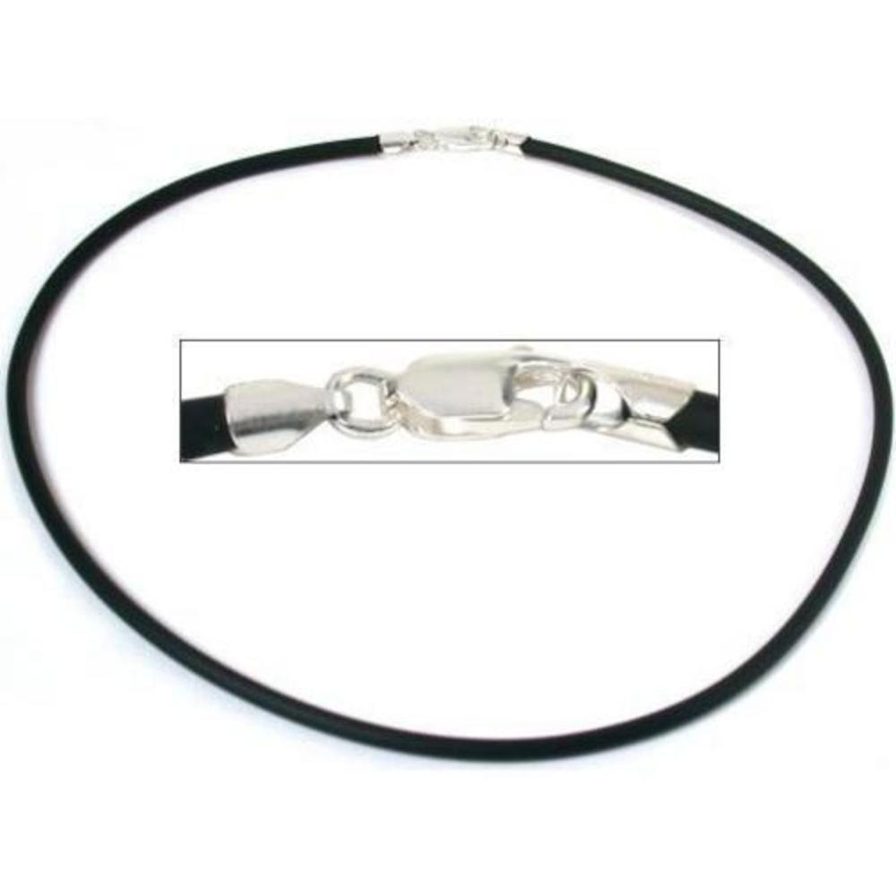 Rubber Cord Necklace Silver Clasp Black Jewelry 16