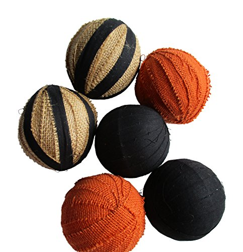 Rag Balls Homespun and Burlap Balls Fall and Halloween Bowl Fillers - Black, Orange and Natural Burlap (Primitive Fall Halloween Decorations)