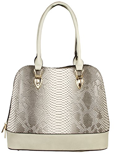 Derica Python Embossed Pattern Faux Leather Satchel Shoulder Hand Bag - Gray - Python Hobo Handbag