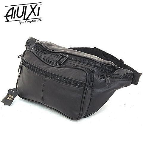 AiUIXi1991-Large Fanny Genuine Leather Waist Travel Bag Adjustable Organizer Belt XL - BLACK - Morris Care Bear Costume