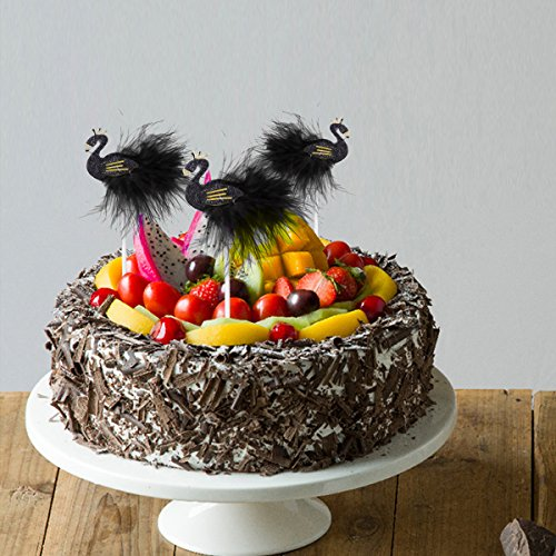 TOYMYTOY 10PCS Swan Cake Topper Cupcake Picks Dessert Cake Sticks for Wedding Birthday Party Decor (Black) by TOYMYTOY (Image #4)
