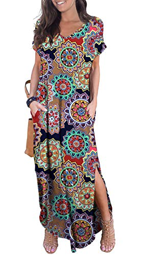 GRECERELLE Women's Casual Loose Long Dress Short Sleeve Floral Print Maxi Dresses with Pockets Round Flower Navy Blue-M