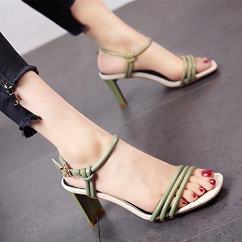 YMFIE El Estilo Europeo de Verano los Zapatos de tacón Alto los Dedos Exteriores de Dama Moda Cómodo Antideslizante Sandalias de tacón Alto. green