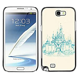 Design for Girls Plastic Cover Case FOR Samsung Note 2 N7100 Church Castle Teal Painting Medieval OBBA