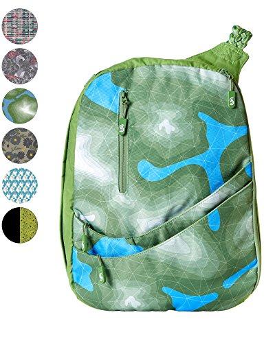 Slope Sling Backpack for Women Juniors Crossbody Bag with 15 inch Laptop Pocket One Shoulder Strap Daypack - Topo Verde