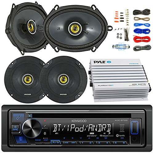 - Kenwood KDCBT23 Car Bluetooth Radio USB AUX CD Player Receiver - Bundle Combo with 2X Kicker CSC654 6.5