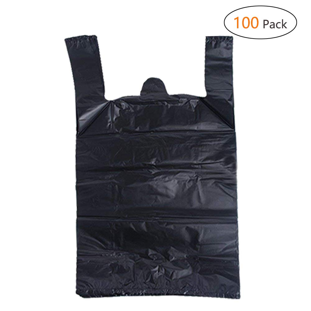 IntService Plastic Sturdy Black T Shirt Bags, Shopping Bags with Handles Bulk Multi-Use Large Size Merchandise Bags, Black Plain Grocery Bags, Durable 12 x 20 inches(100Packs, Black)