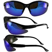 Global Vision Cougar Safety Sunglasses Black Frame G-Tech Blue Mirror Lens ANSI Z87.1