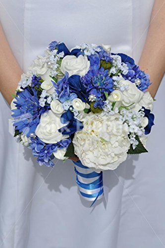 Amazon Royal Blue Hydrangea White Peony Bridal Wedding