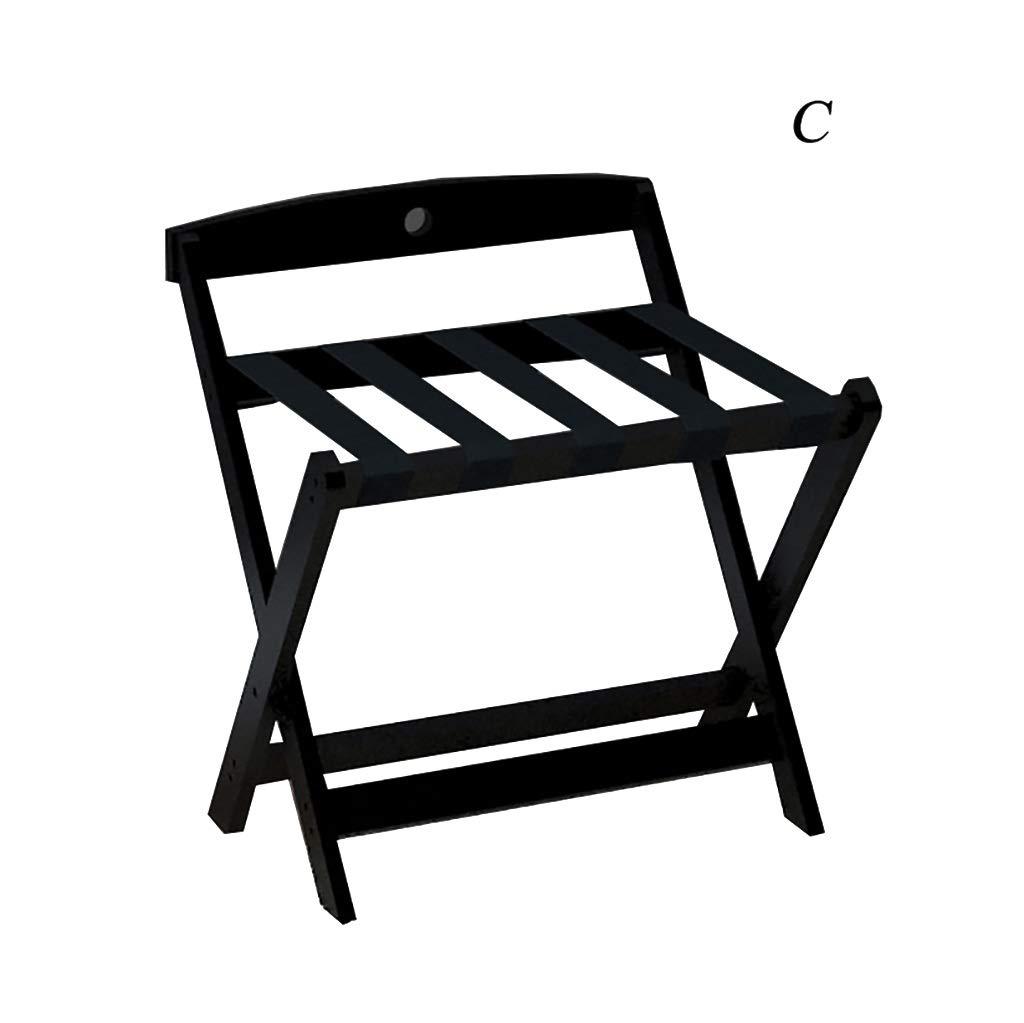 ラゲッジラック - 無垢材製 - 折りたたみ式デザイン - 5サイズ利用可能 - 家、寝室/ホテル用ラック - 黒 (Size : C) B07T3DGDCY  C