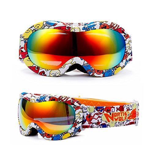 SE7VEN Masques De Ski Enfants,Double Couche Anti Brouillard Jeunesse Leçon De Ski Snowboard Goggles Coupe-vent Lunettes De Soleil A