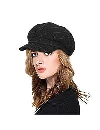 Plaid Newsboy Cap Womens Ladies Winter Paperboy Cap 6 Pieces Cute Hat-Multicolor