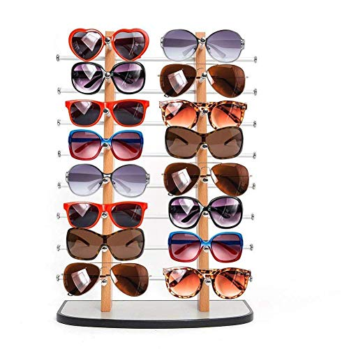 Sunglass Display, Amzdeal Wooden look laminate Sunglasses Display Rack, Eyewear Display up to 16 ()