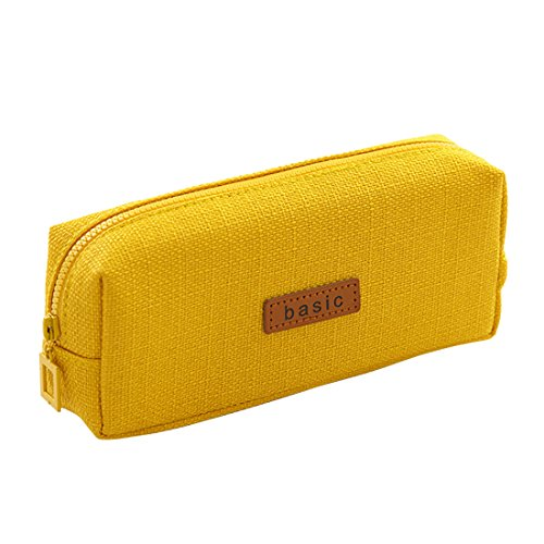 iSuperb Cotton Linen Pencil Case Student Stationery Pouch Bag Office Storage Organizer Coin Pouch Cosmetic - Yellow Coin Case