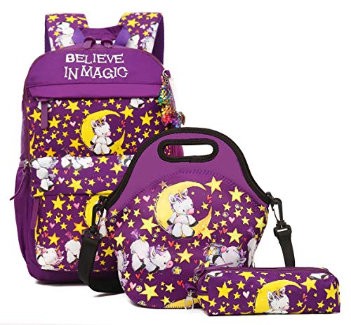 (Debbieicy Cute Unicorn Lightweight Princess Backpack Kids School Bookbag with Lunch Bag Pen Bag for Preschool, Kindergarten, Elementary Girls(Purple Set))