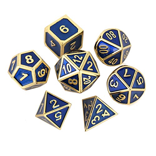 Yiotfandoll 7PCS Zinc Alloy Metal Dice Polyhedral Dice D20 D12 D10 D8 D4 for Dungeons and Dragons DND RPG MTG Table Games 16mm Blue Gold with Bag
