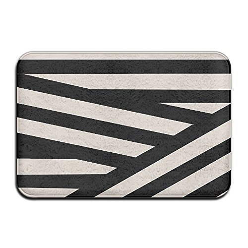 Huangwei 31.5x19.7inch Black Stripes Absorbent Outdoor Doormat Kitchen Area Rug Welcome Mat for Home Decor