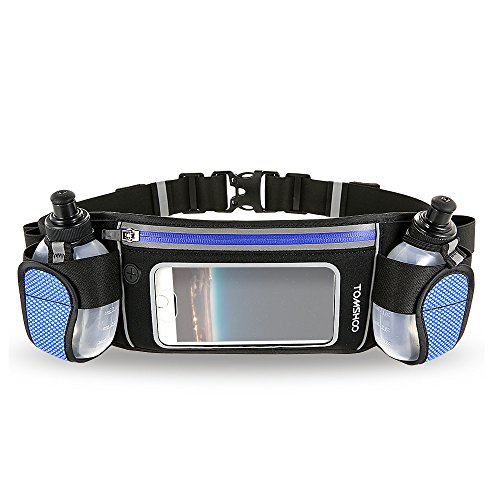 TOMSHOO Hydration Running Belt with 2 Water Bottles Lightweight Reflective...