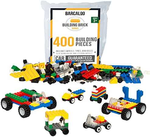 400 Piece Wheels, Tires, and Axels Set - Building Brick Compatible Play Kit