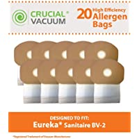 20 Replacements for Eureka BV-2 Bags Fit Sanitaire, Backpack, Carpet Pro, Piranha, & Tornado, Compatible With Part # 62370, by Think Crucial