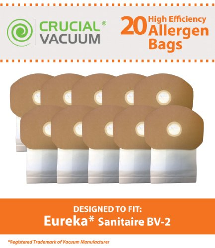 20 Replacements for Eureka BV-2 Bags Fit Sanitaire, Backpack, Carpet Pro, Piranha, & Tornado, Compatible With Part # 62370, by Think Crucial (Pro Carpet Bags Vacuum)