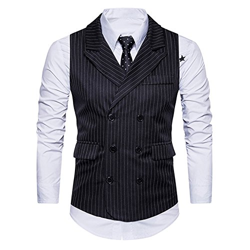 Double Breasted Belt - Mens Pinstripe Vest Slim Fit Formal Dress Vest Double-Breasted Business Vest