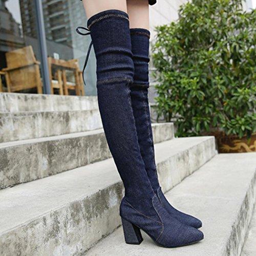 LuckyBB Women's Slim High Heels Denim Over Knee Boots Black IrkzrDJYw0