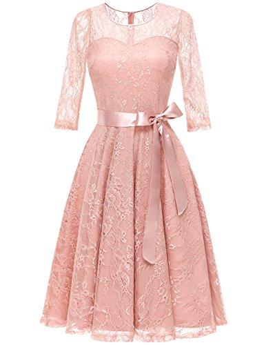 DRESSTELLS Women's Illusion Bridesmaid Dress Floral Lace Cocktail Party Tea Dress Blush M