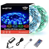 Musical Instruments : Led Strip Lights 32.8ft 10m 600LEDs Non Waterproof Flexible Color Changing RGB SMD 3528 LED Strip Light Kit with 44 Keys IR Remote Controller and 12V Power Supply NO White Color
