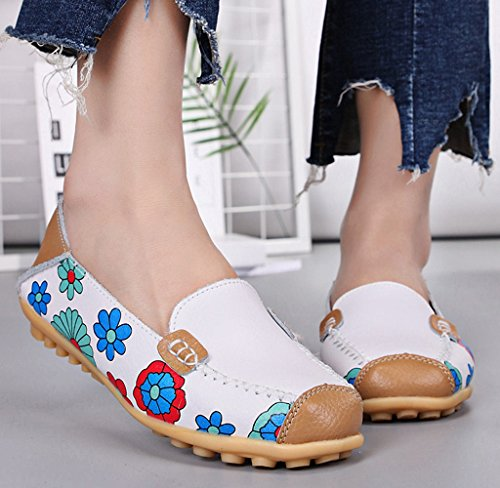 Loafers Driving 01 Slippers Women's Slip White Casual Leather Shoes On Labato Flat 47tnSqZx