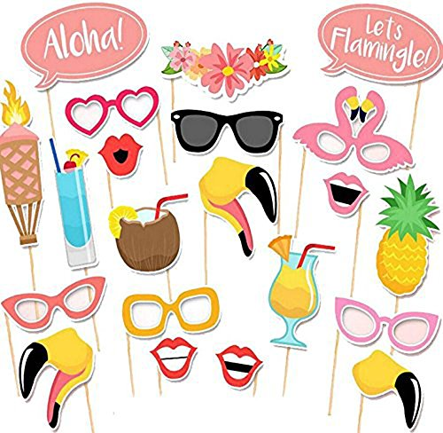 Trasfit 21Pcs Luau Photo Booth Props Kit for Hawaii Themed Summer Party Supplies, Tropical/Tiki/Summer Pool Party Decorations Supplies -