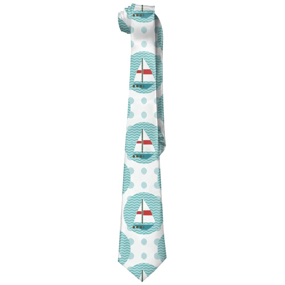 Shadidi Men Sailboat Sea Wave Classic Tie Necktie