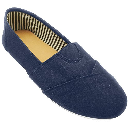 Sarah Best Denim Navy Ver Zapatos Escolares Bajitos Tooms Nake Esckecher de Mujer de Moda Foam Slip On Top Back to School Uniform Tenis Sneaker Kung Fu Shoes for Women Teen Girl Kid (Size 8.5, Denim)