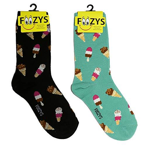 Cream Socks Cone Ice - Foozys Women's Crew Socks | Cute Fun Food Ice Cream Cones & Pops Novelty Socks | 2 Pairs