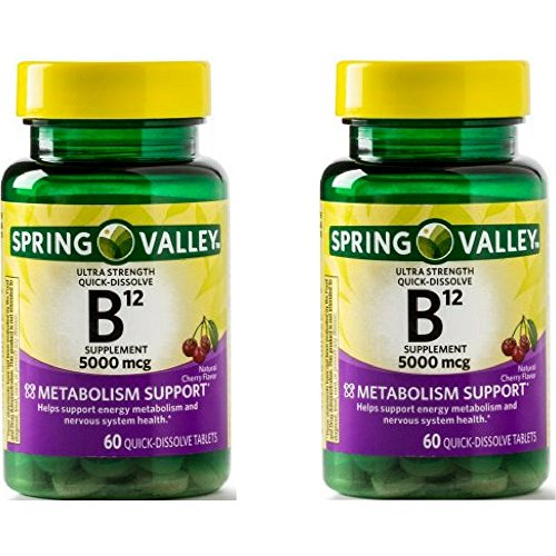 Spring Valley Vitamin B12 Quick Dissolve Tablets, 5000 Mcg, 60 Ct (2 Pack)